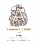 2008 Syrah Sonoma Valley, Amapola Creek Estate